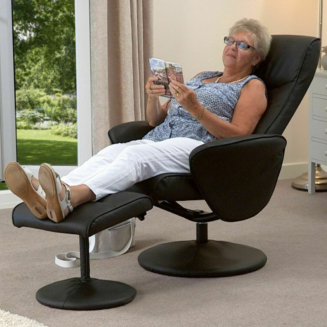 Turin-Faux-Leather-Swivel-Office-Recliner-Chair-With-Free-Footstool thumbnail 14