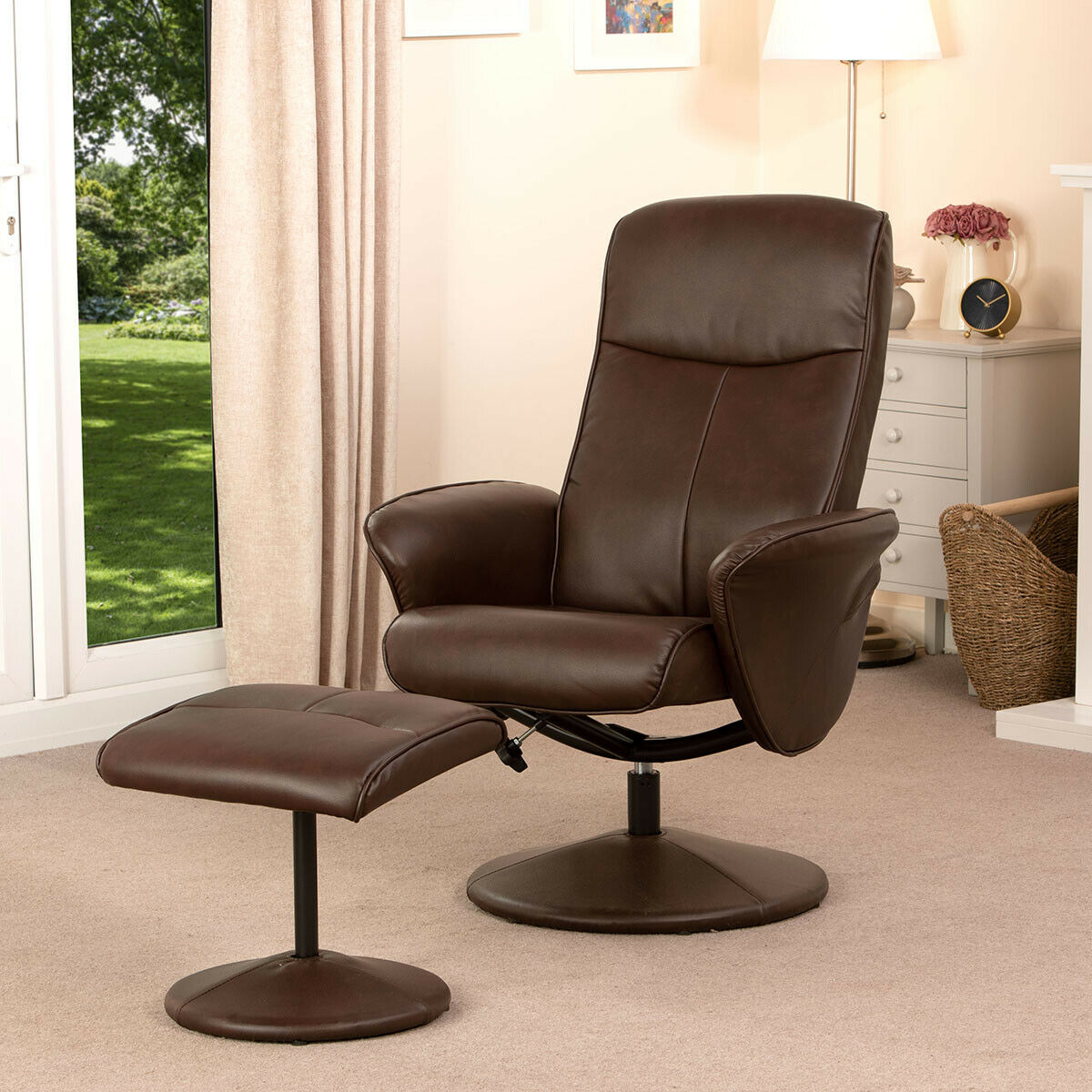 Turin-Faux-Leather-Swivel-Office-Recliner-Chair-With-Free-Footstool thumbnail 22