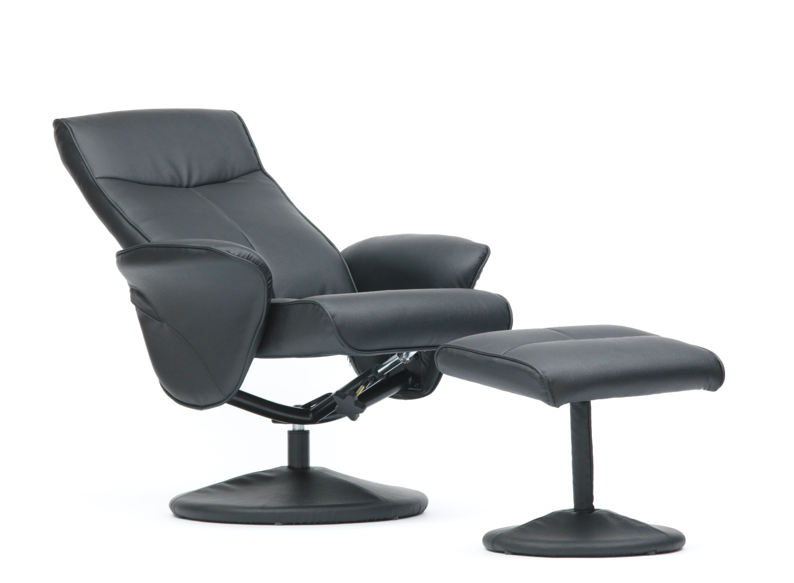 Turin-Faux-Leather-Swivel-Office-Recliner-Chair-With-Free-Footstool thumbnail 10
