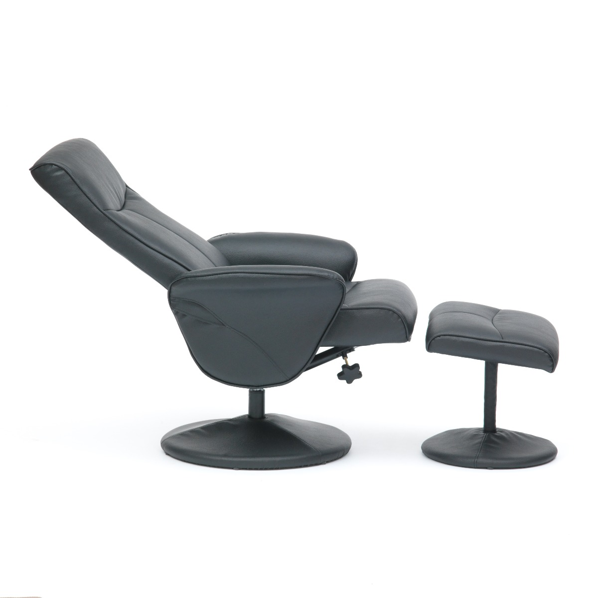 Turin-Faux-Leather-Swivel-Office-Recliner-Chair-With-Free-Footstool thumbnail 11